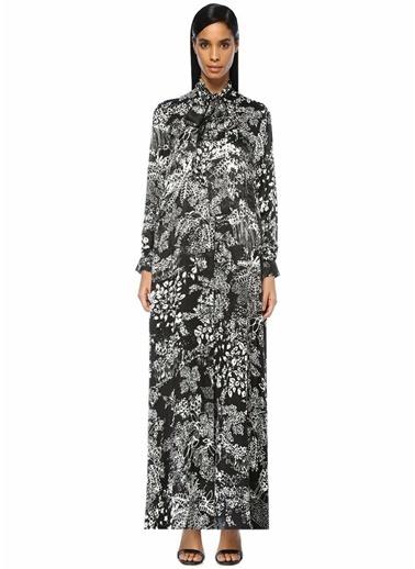 Beymen Collection Yakası Bağlı Botanik Desen Maksi İpek Elbise Siyah